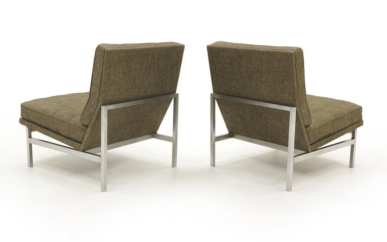 Brushed Early Pair of Florence Knoll Armless Slipper Lounge Chairs, Excellent Condition For Sale
