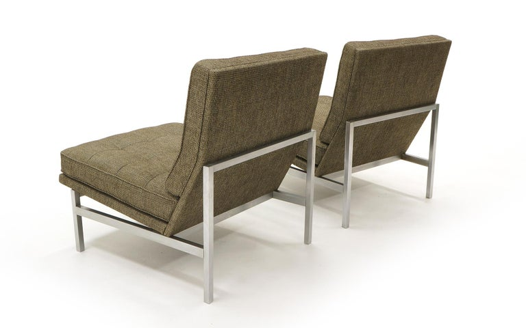 Early Pair of Florence Knoll Armless Slipper Lounge Chairs, Excellent Condition In Excellent Condition For Sale In Kansas City, MO