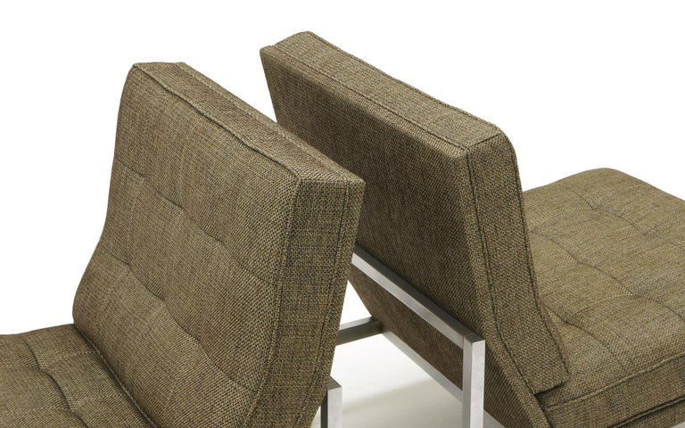 Mid-20th Century Early Pair of Florence Knoll Armless Slipper Lounge Chairs, Excellent Condition For Sale