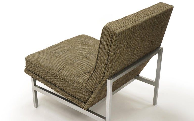 Early Pair of Florence Knoll Armless Slipper Lounge Chairs, Excellent Condition For Sale 1