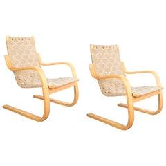 Early Pair of Alvar Aalto Armchairs Chair Model 406 Artek, 1960