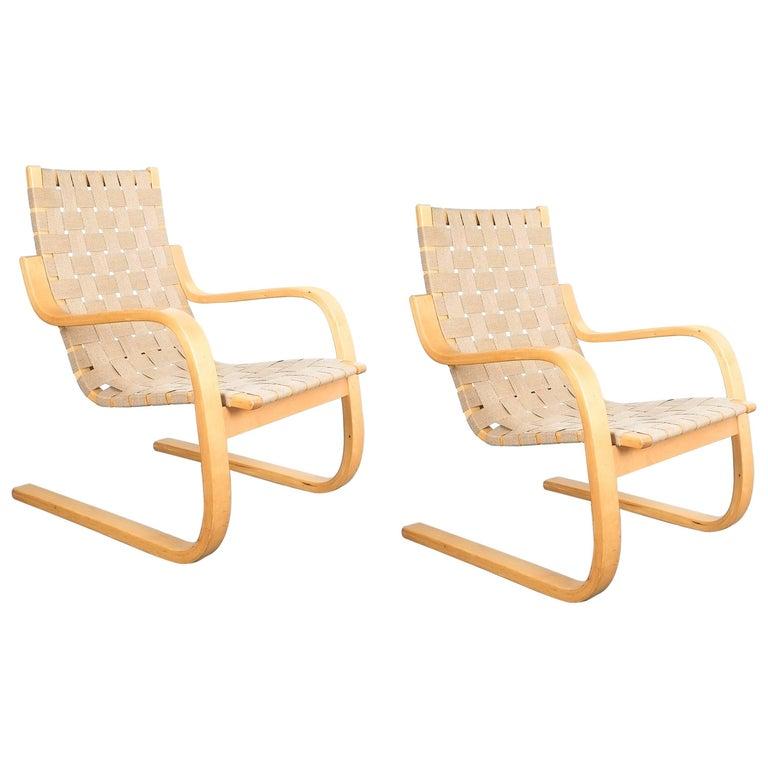 Early Pair of Alvar Aalto Armchairs Chair Model 406 Artek, 1960 For Sale