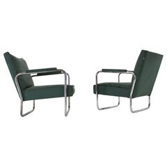 Early Pair of Bauhaus Chrome Armchairs KF-406 by Walter Knoll for Thonet, 1930s