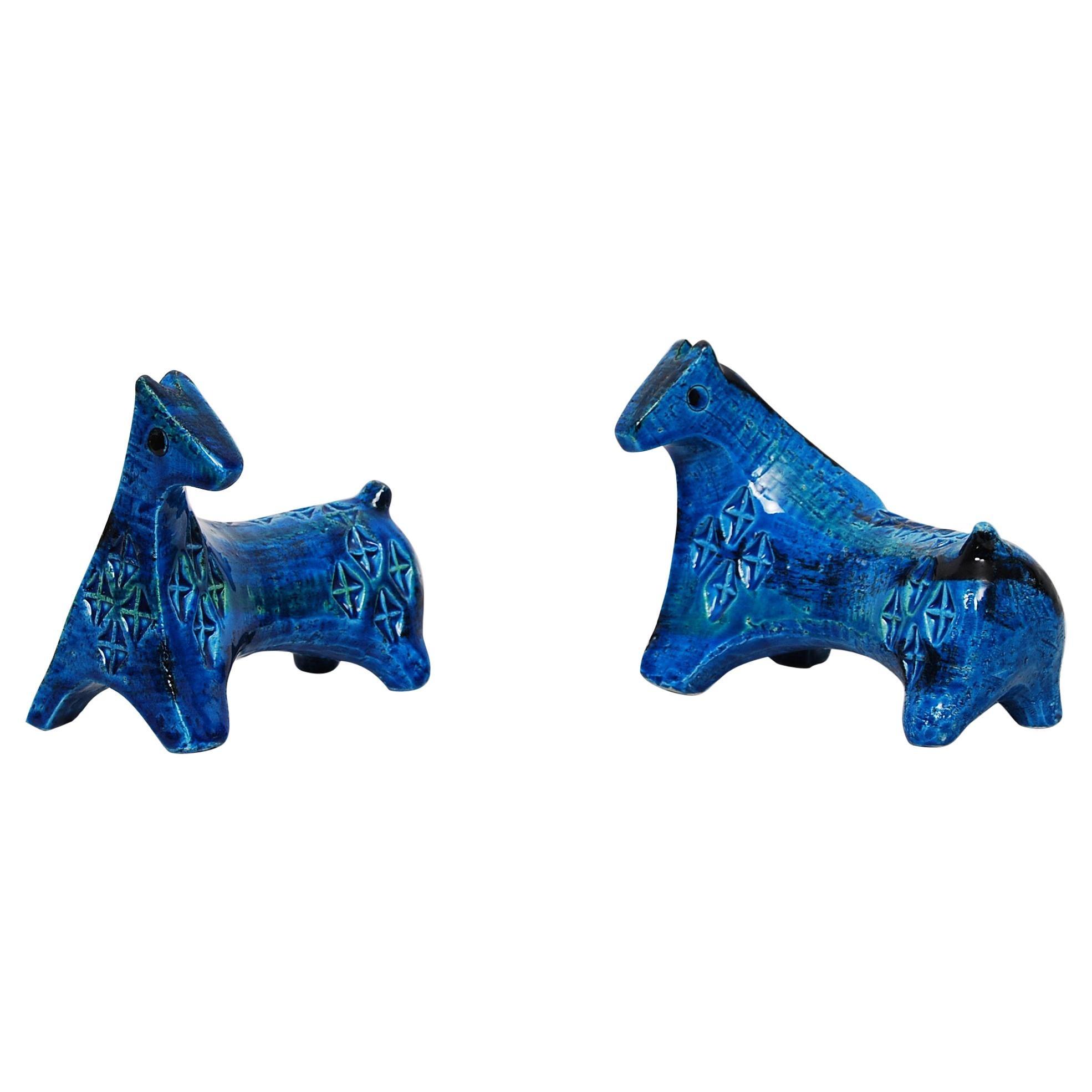 Early Pair of Bitossi Sculptural Horses in Rimini Blue Ceramic by Aldo Londi