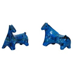 Early Pair of Bitossi Sculptural Horses in Rimini Blue Ceramic by Aldo Londi