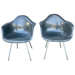 "Early Pair of Charles Eames Fiberglass Arm Shell Chairs ""Elephant Herman Miller"