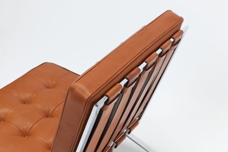 Early Pair of Cognac Leather RH301 Lounge Chairs by Robert Haussmann For Sale 7