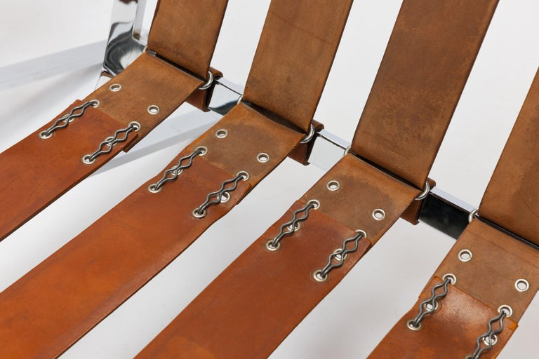 Early Pair of Cognac Leather RH301 Lounge Chairs by Robert Haussmann For Sale 9