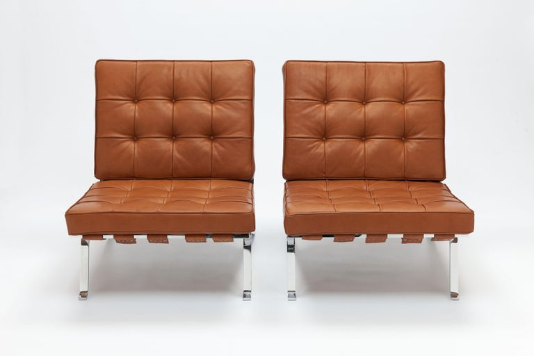 Austrian Early Pair of Cognac Leather RH301 Lounge Chairs by Robert Haussmann For Sale
