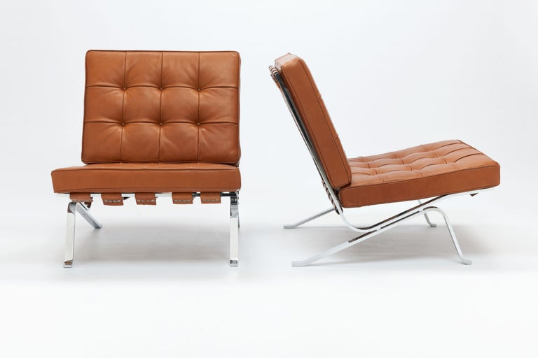 Polychromed Early Pair of Cognac Leather RH301 Lounge Chairs by Robert Haussmann For Sale