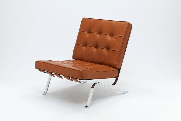 Mid-20th Century Early Pair of Cognac Leather RH301 Lounge Chairs by Robert Haussmann For Sale