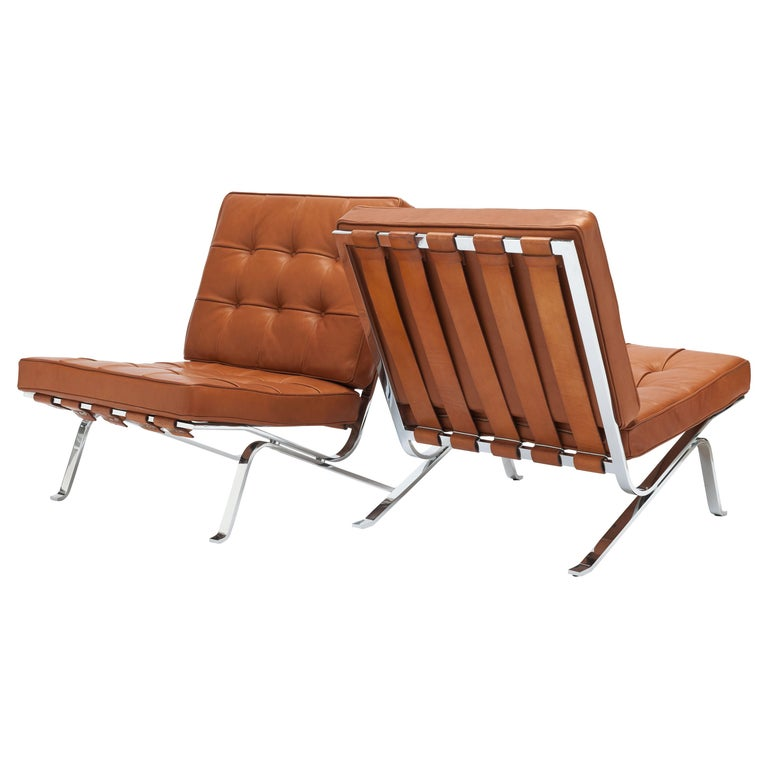 Early Pair of Cognac Leather RH301 Lounge Chairs by Robert Haussmann For Sale
