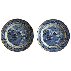Early Pair of Davenport Ironstone Plates Blue and White Broseley Ptn, circa 1815