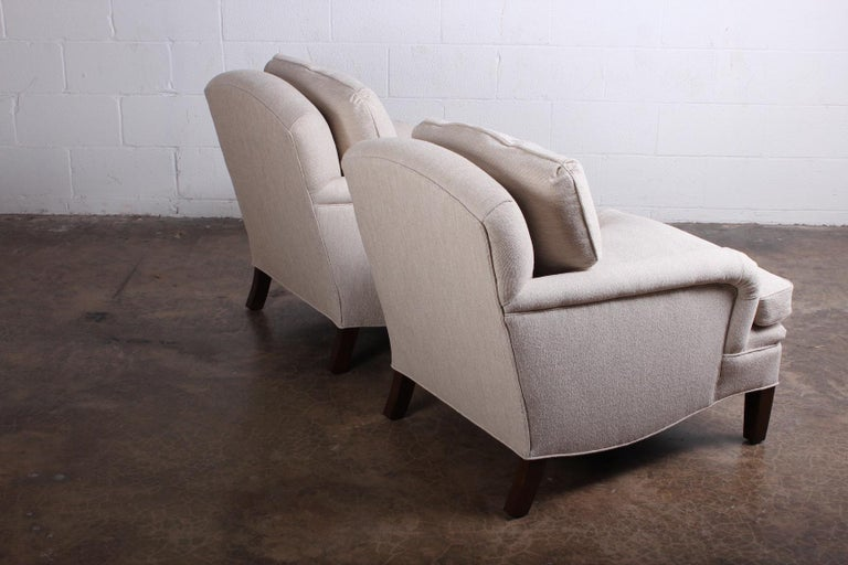 Early Pair of Dunbar Lounge Chairs by Edward Wormley For Sale 7