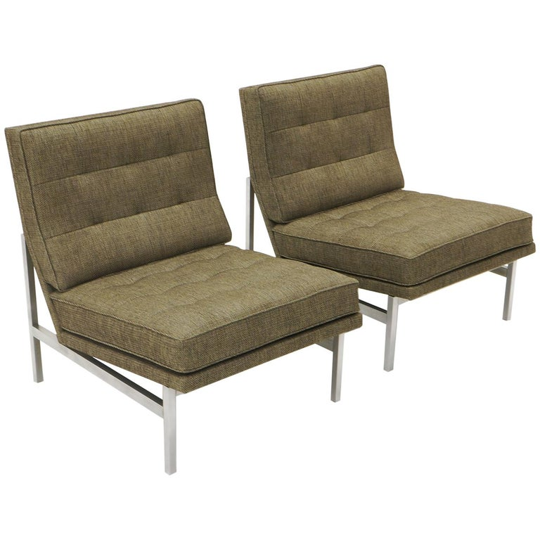 Early Pair of Florence Knoll Armless Slipper Lounge Chairs, Excellent Condition For Sale