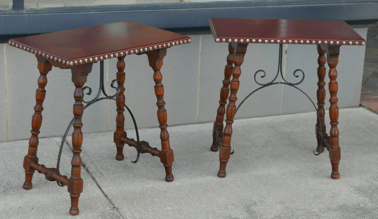 Spanish Colonial Early Pair of Leather Top Kittinger Spanish Revival Tables For Sale