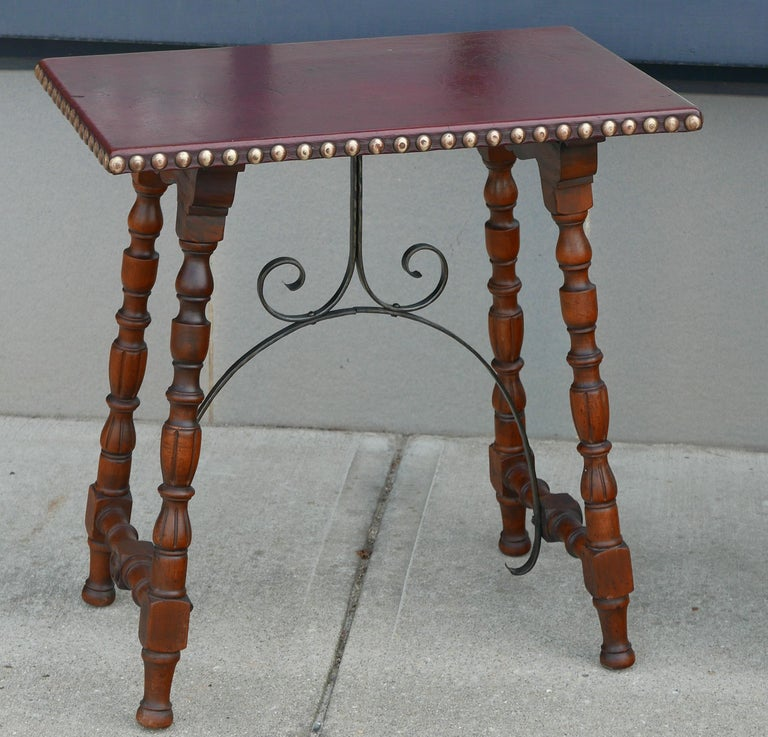 American Early Pair of Leather Top Kittinger Spanish Revival Tables For Sale