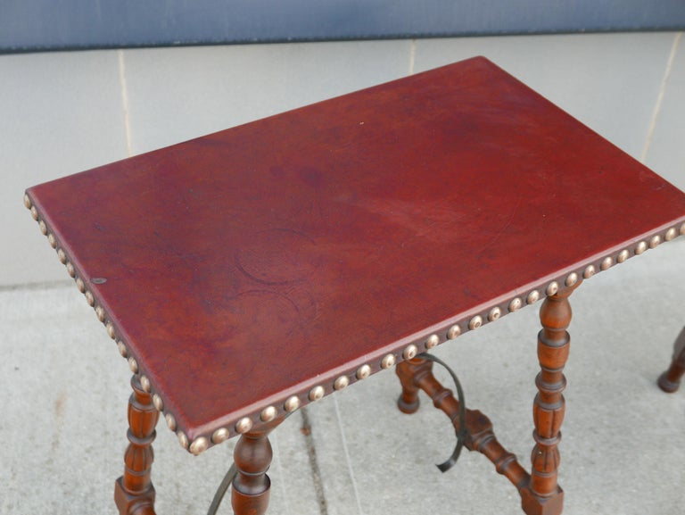 Turned Early Pair of Leather Top Kittinger Spanish Revival Tables For Sale