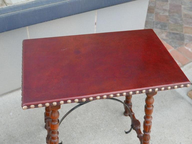 Early Pair of Leather Top Kittinger Spanish Revival Tables In Distressed Condition For Sale In Kilmarnock, VA