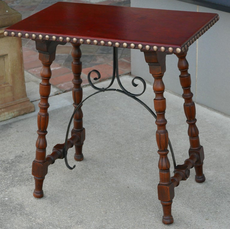 Early Pair of Leather Top Kittinger Spanish Revival Tables For Sale 1