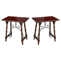Early Pair of Leather Top Kittinger Spanish Revival Tables