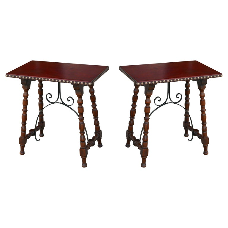 Early Pair of Leather Top Kittinger Spanish Revival Tables For Sale
