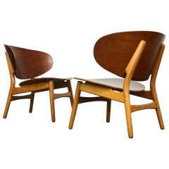 Mid Century Modern Lounge Chairs by Hans Wegner in Teak and Beech