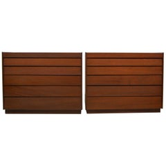 Early Pair of Louver Front Dressers by Edward Wormley