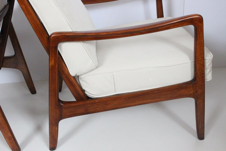Early Pair of Ole Wanscher Mahogany Lounge Chairs, 1950's 4