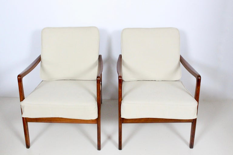 Mid-Century Modern Early Pair of Ole Wanscher Mahogany Lounge Chairs, 1950's