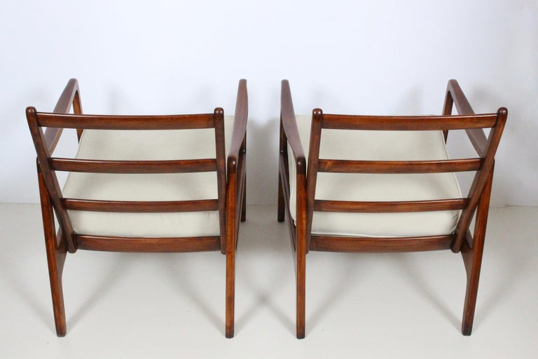 Danish Early Pair of Ole Wanscher Mahogany Lounge Chairs, 1950's