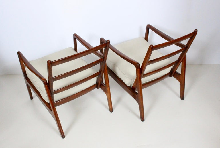 Mid-20th Century Early Pair of Ole Wanscher Mahogany Lounge Chairs, 1950's