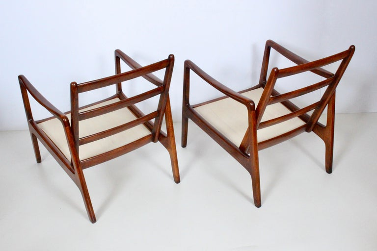 Early Pair of Ole Wanscher Mahogany Lounge Chairs, 1950's 1