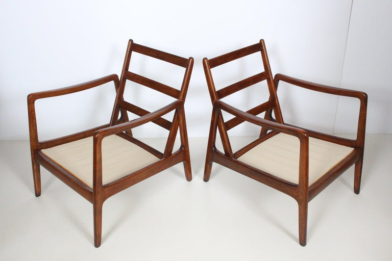 Early Pair of Ole Wanscher Mahogany Lounge Chairs, 1950's 2