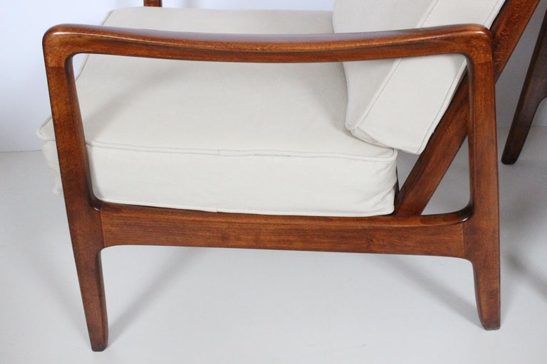 Early Pair of Ole Wanscher Mahogany Lounge Chairs, 1950's 3
