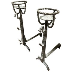Early Pair of Wrought-Iron Chenets