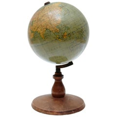 Early Paluzuie Globe with Rotating Wood Base, circa 1930