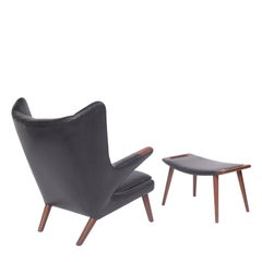 Early Papa Bear Chair and Ottoman by Hans Wegner for A P Møbler