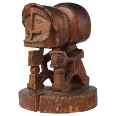 Early Papua Korwar Ancestor Figure, Early 19th Century, Deep Black-Brown Patina