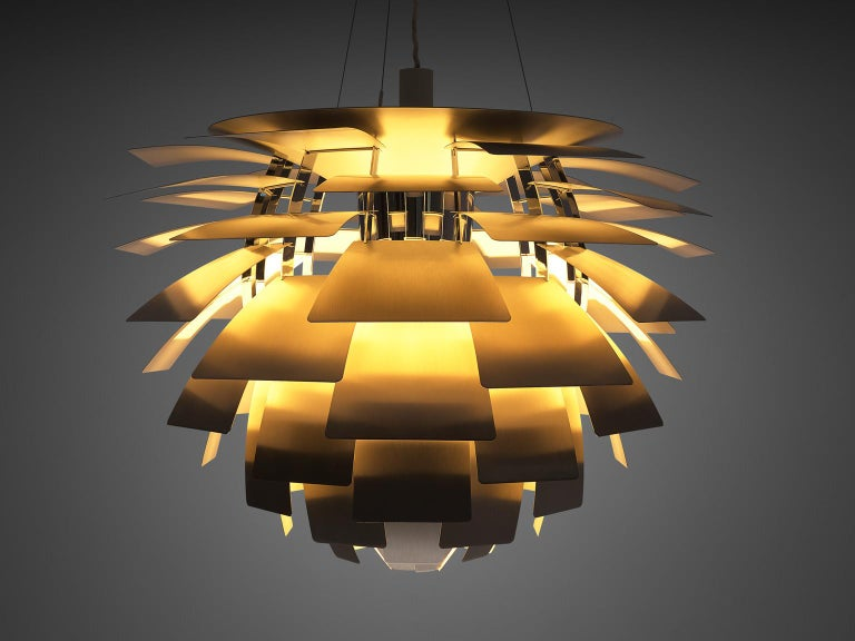 Poul Henningsen for Louis Poulsen, 'PH-Artichoke' pendant with stainless steel shades, stainless steel Denmark, design 1957, production 1970s.  The Artichoke pendant is an all time eyecatcher in the lighting design. This iconic pendant, designed by
