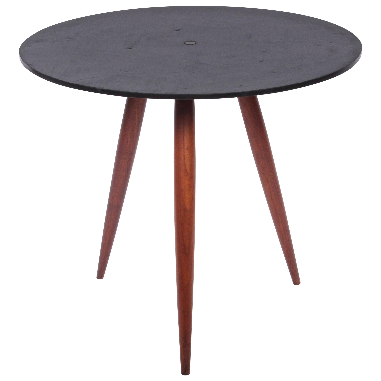 Phillip Lloyd Powell Slate & Walnut Occasional Table, 1960