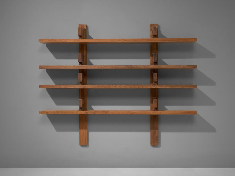 Pierre Chapo, bibliothèque, model no. B17, elm, France, 1960s.  This is a rare and large model 'B17' - shelves designed by Pierre Chapo. It is the largest version of this quintessential piece by Chapo. The shelving system was created in 1967 were