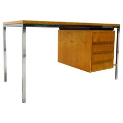 Early Polished Steel and Tiger Stripe Maple Desk Attributed to Florence Knoll