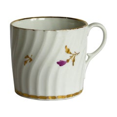 Early Porcelain Coffee Can Possibly Grainger Hand Painted and Gilded, circa 1800