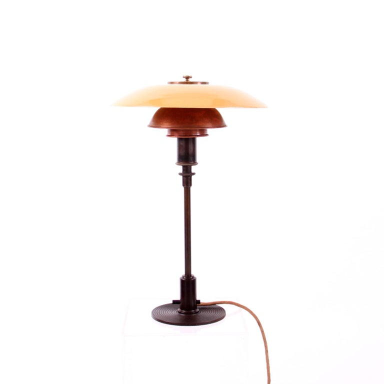 20th Century Early Poul Henningsen 3/2 Table Lamp Shades in Copper and Yellow Glass For Sale
