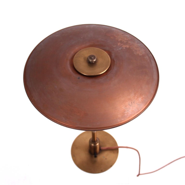 Danish Early Poul Henningsen Table Lamp in Brass with Copper Shades, 1927-1928 For Sale