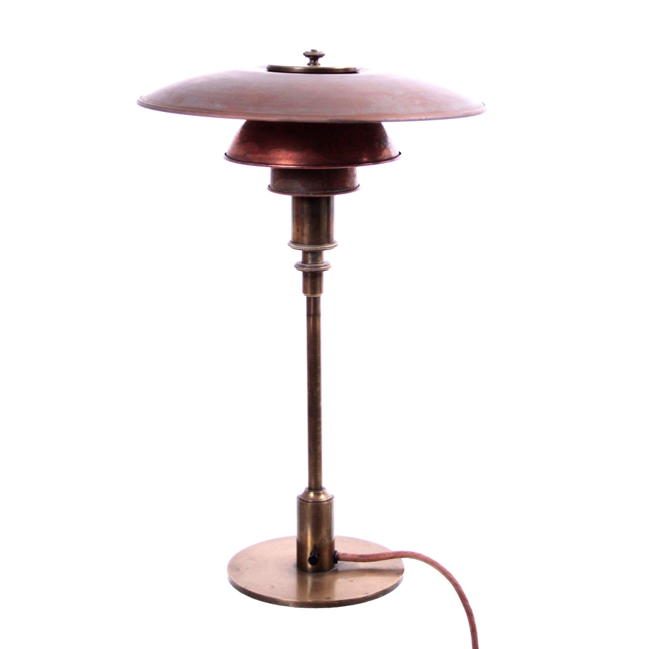 Early Poul Henningsen Table Lamp in Brass with Copper Shades, 1927-1928
