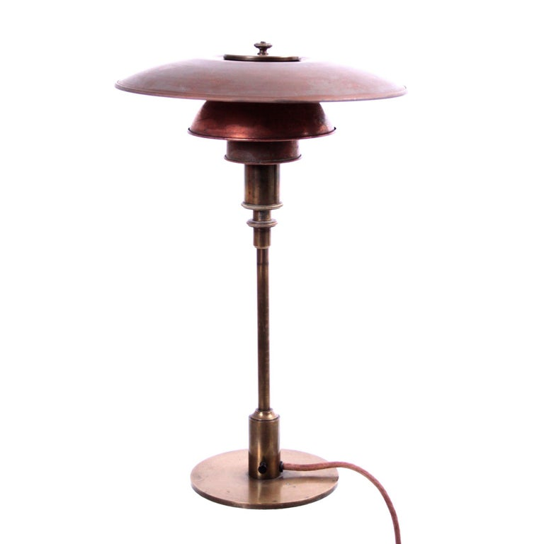 Early Poul Henningsen Table Lamp in Brass with Copper Shades, 1927-1928 For Sale