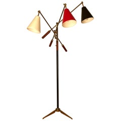 Early Production Arredoluce Triennale Floor Lamp Brass and Cognac Leather