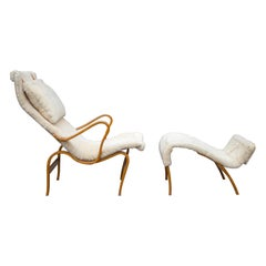 Early Production Bruno Mathsson Pernilla Lounge Chair and Ottoman in Sheepskin